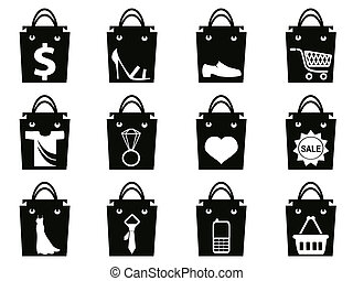 nero, set, sacchetto spesa, icone
