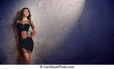 nero, sexy, donna, parete