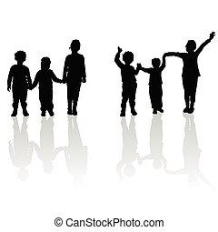 nero, silhouette, bambini tengono mani