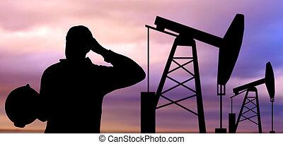 nero, silhouette, di, lavoratore olio, e, pompare cricco