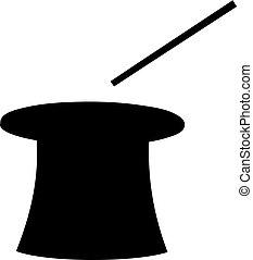 nero, silhouette, di, magia, cilindro, cappello a cilindro, e, bacchetta