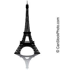 nero, silhouette, di, torre eiffel