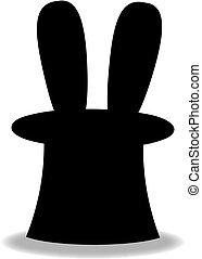 nero, silhouette, di, trucco magico, coniglio, in, cilindro, cappello