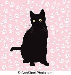 nero, silhouette, gatto