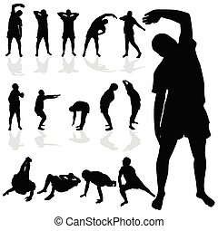 nero, silhouette, ginnastico, uomo