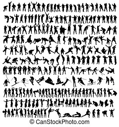 nero, silhouette, persone