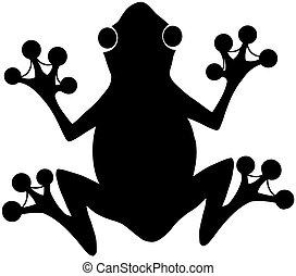 nero, silhouette, rana, logotipo