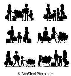nero, silhouette, shopping, gruppi, persone