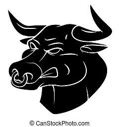 nero, silhouette, toro
