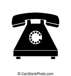 nero, silhouette, vecchio telefono, vettore
