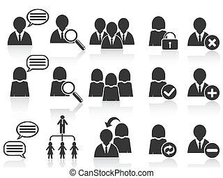 nero, sociale, simbolo, persone, icone, set