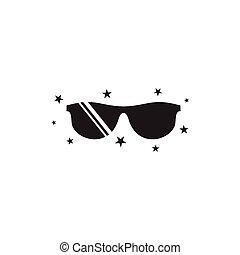 nero, splendere, simbolo, occhiali, fresco, vettore