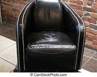 nero, stalloni, sedia, cuoio