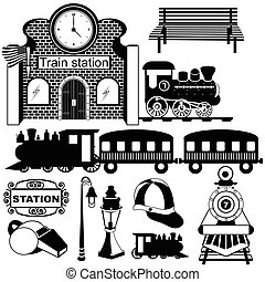 nero, stazione treno, vecchio, icone