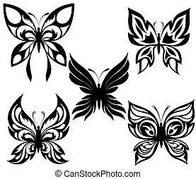 nero, t, farfalle, set, bianco