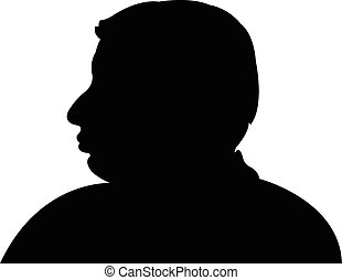 nero, testa, silhouette, uomo