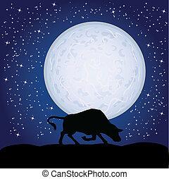 nero, toro, in, il, chiaro di luna