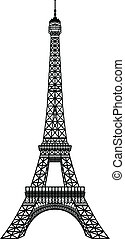 nero, torre, eiffel, silhouette