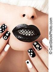 nero, trucco, e, manicure.
