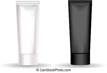 nero, tubo, crema, bianco