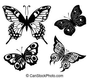 nero, uno, bianco, set, di, farfalle, di