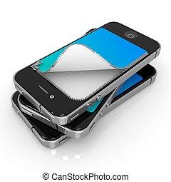 nero, unzipped, smartphones, bianco, fondo, 3d, render.