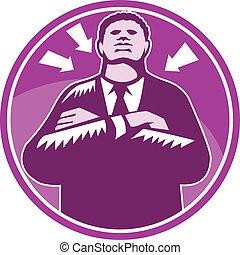 nero, uomo affari, buttafuori, braccia hanno piegato,...