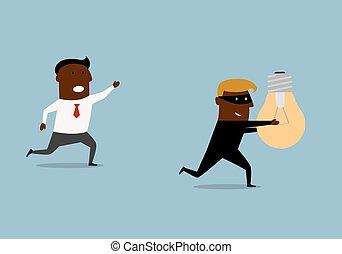 nero, uomo affari, inseguire, idea, ladro