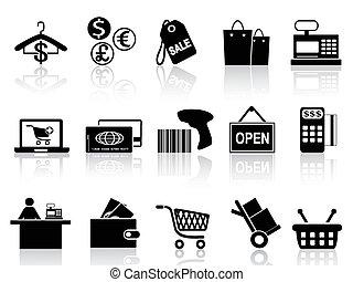 nero, vendita dettaglio, e, shopping, icone, set