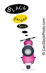 nero, venerdì, bandiera, motocicletta, vendita
