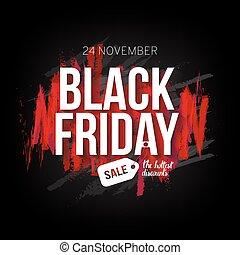 nero, venerdì, vendita, bandiera, sagoma, per, web, stampa, disegno, production., bianco, testo, su, contrasto, sfondo nero, con, spazzola rossa, strokes., vettore, illustrazione