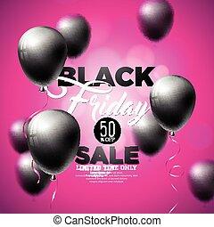 nero, venerdì, vendita, vettore, illustrazione, con, baluginante, palloni, su, viola, fondo.