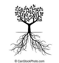 nero, vettore, albero, illustration., roots.