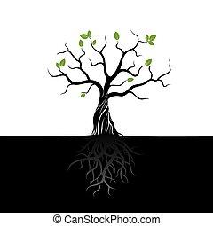 nero, vettore, albero, verde, mette foglie