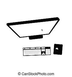 nero, vettore, illustrazione computer
