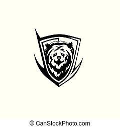 nero, vettore, illutration, orso, icona
