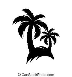 nero, vettore, palma, icona