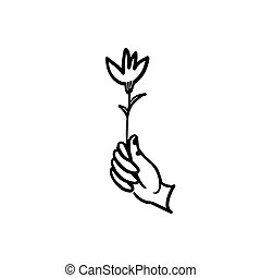 nero, vettore, prese, fiore, flower., mano, isolare, linea bianca, fondo.