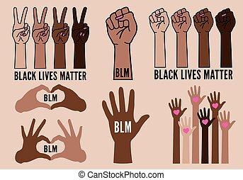 nero, vive, contro, femmina, vettore, questione, protesta, mani, razzismo