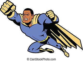 nero, volare, superhero, con, pugno serrato