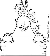 nero, vuoto, cavallo bianco, sopra