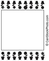 nero, -white, cornice, con, fiori