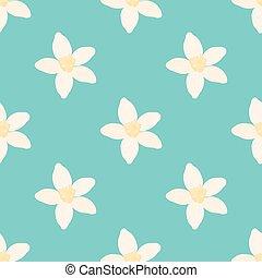 Neroli flower seamless pattern, oil plant, essential cosmetics. Vector illustration