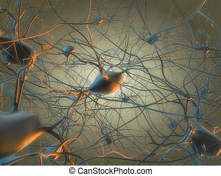 nerve cell - 3d rendered illustration of a neuron cell with...