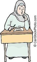 nerveux, musulman, étudiant