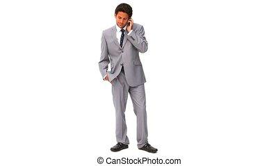 nerveux, obtenir, élégant, homme affaires