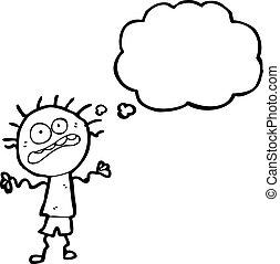 nervioso, caricatura, niño
