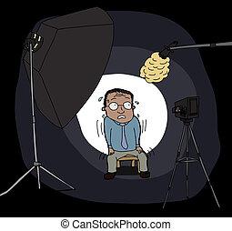 nervioso, hombre cámara