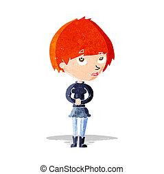 nervosa, mulher, caricatura