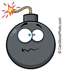 Nervous Bomb Face Cartoon Mascot Character With Expressions